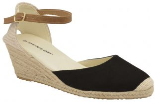 Dunlop Womens Rana Black Wedge Sandals